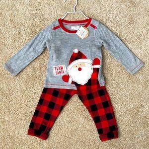 Mud Pie Team Santa Pajama Set 6-9 months NWT